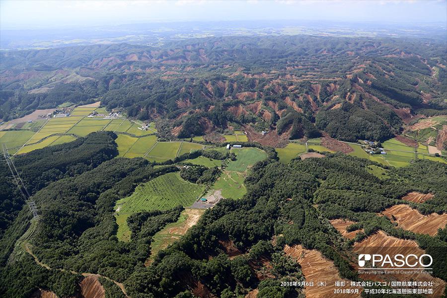 厚真町桜丘~高丘 広範囲で同時多発的に発生している斜面崩壊(写真奥)