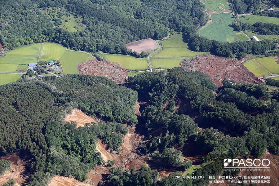 厚真町高丘 斜面崩壊による土砂は厚真川支川に流入