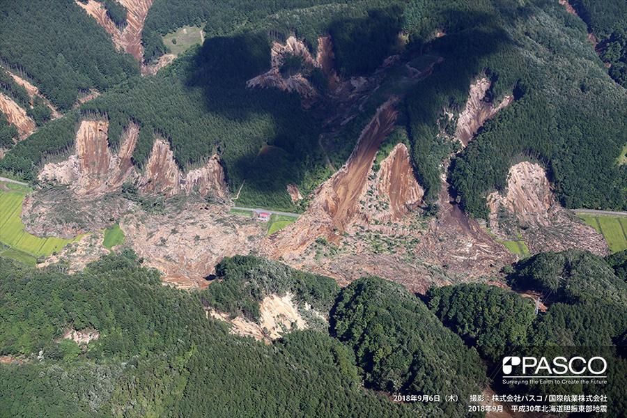 厚真町 斜面で複数の崩壊が連続して発生している