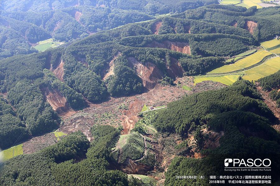 厚真町幌内 両岸からの複数の崩壊により土砂が谷底を埋めている