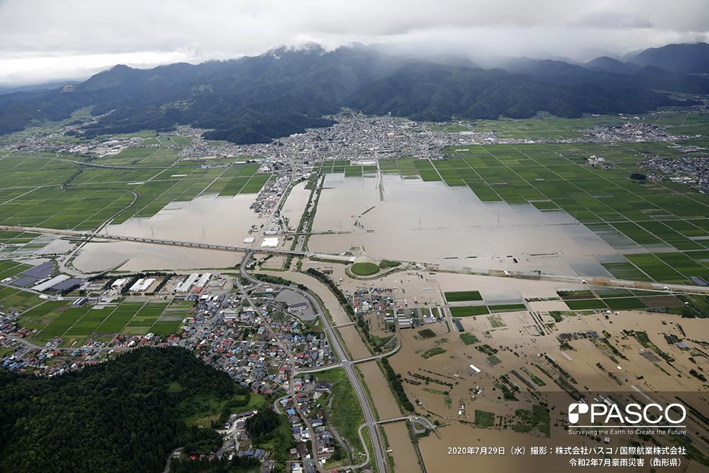 山形県村山市大字河島付近 最上川右支大旦川沿いの氾濫