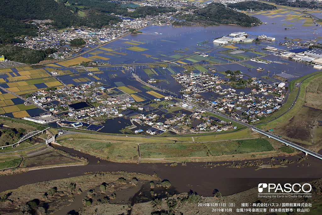 栃木県足利市: 渡良瀬川と袋川合流点付近の状況。渡良瀬川左岸側を流れる尾名川を中心に山裾まで氾濫している。