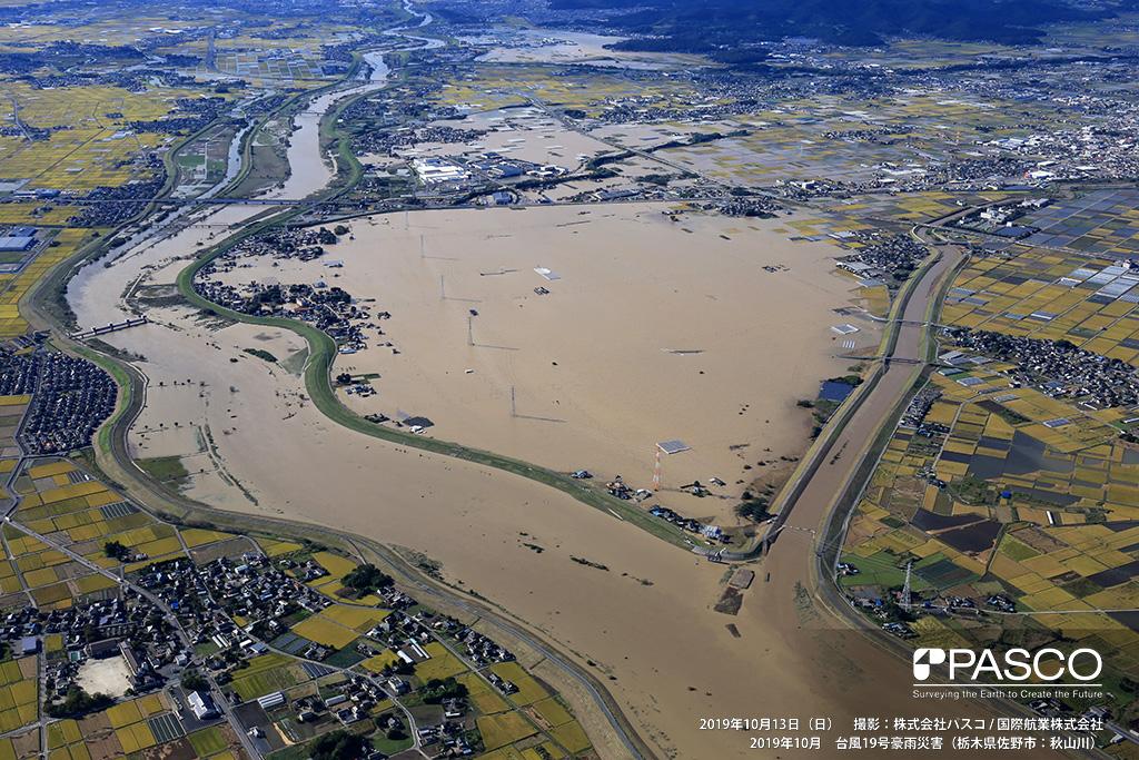 栃木県佐野市: 渡良瀬川と秋山川の合流点付近の氾濫状況。合流点上流側は、広範囲に氾濫しており渡良瀬川沿いの住宅も浸水しているのがわかる。