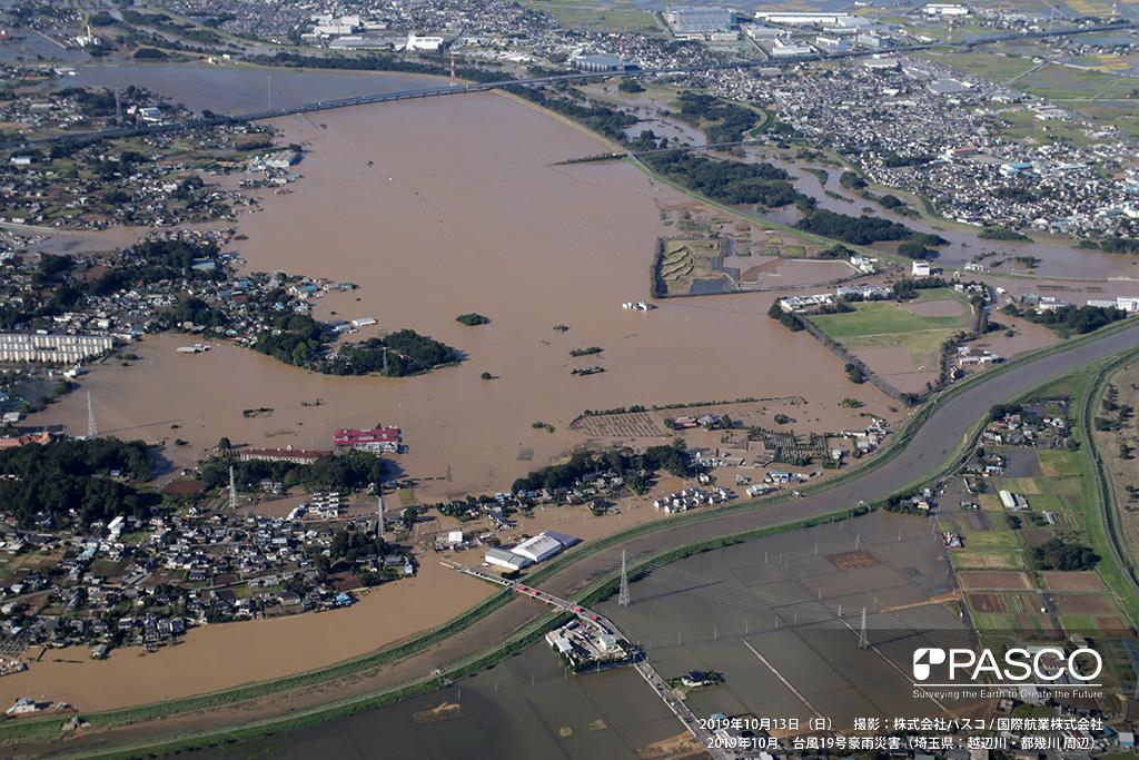 埼玉県川越市: 越辺川右岸の決壊による氾濫状況