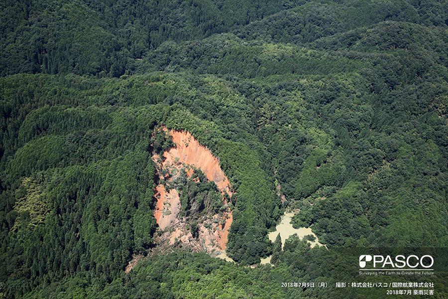 京都府福知山市大江町公圧 深層崩壊による河道閉塞で湛水発生