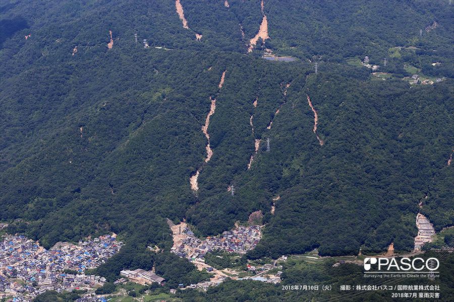 広島県広島市安芸区矢野東 斜面崩壊により発生した土石流が住宅地に流下