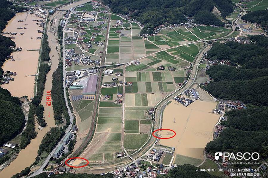 広島県三原市本郷町 沼田川支川の堤防2ケ所が決壊し、水田等に浸水被害が発生