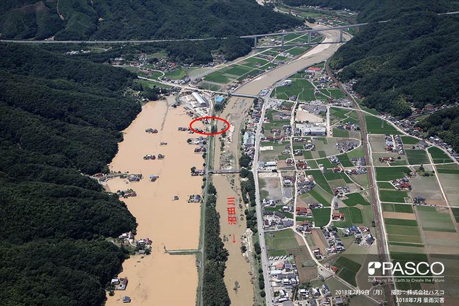 広島県三原市本郷町 沼田川の堤防が決壊による浸水被害が発生