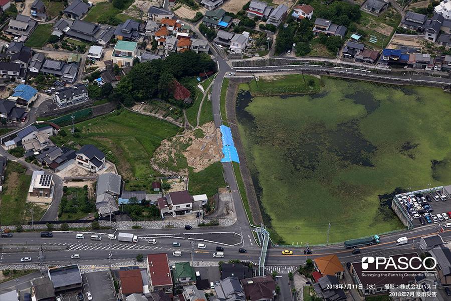 尾道市栗原町 ため池の堰堤の部分的崩壊