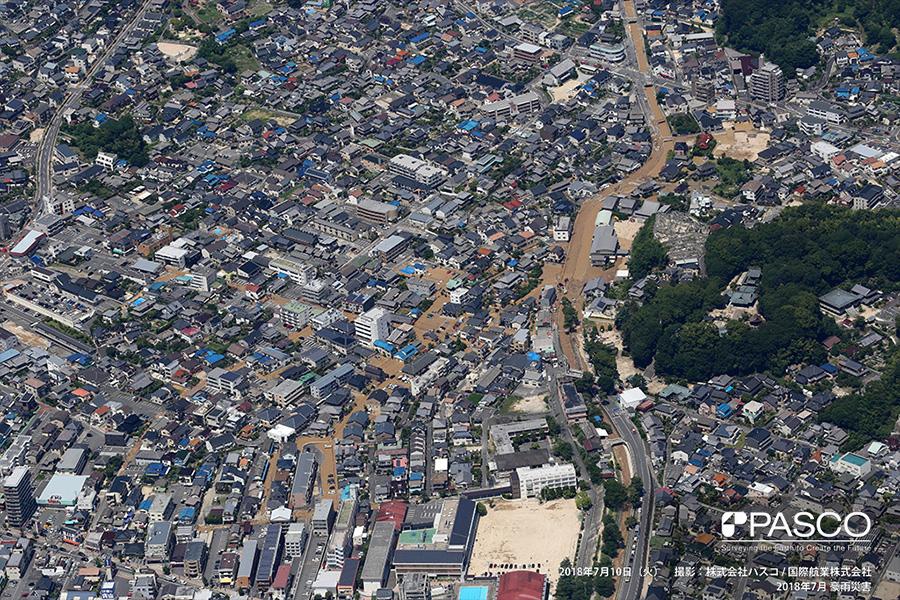 広島県安芸郡府中町本町 7月10日に発生した榎川の氾濫