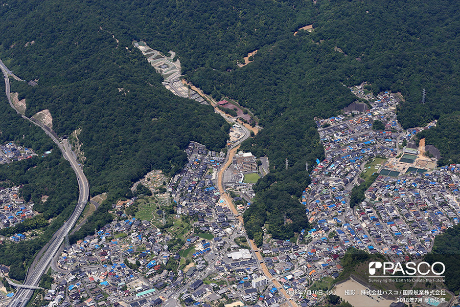 広島県安芸郡府中町みまくり 榎川氾濫箇所の上流部、水分森林公園付近