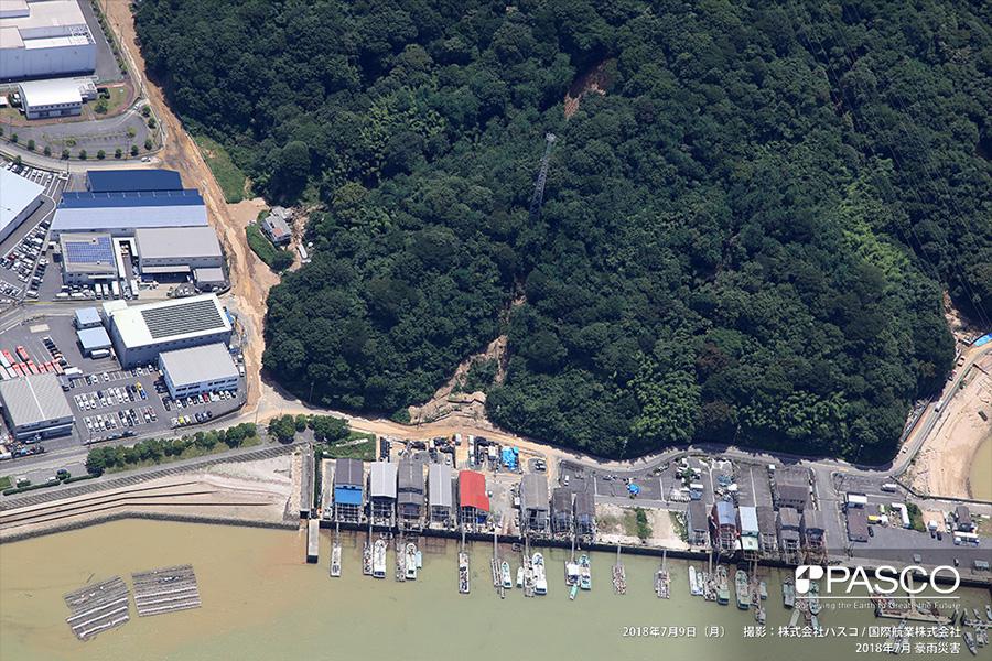 広島県安芸郡坂町平成ヶ浜 斜面崩壊で流下し、道路を覆う土砂
