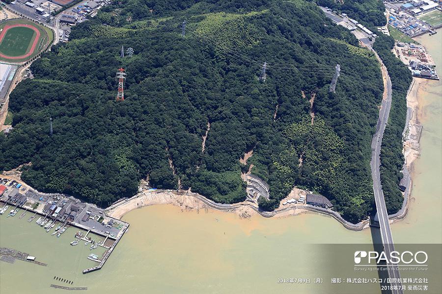 広島県安芸郡坂町平成ヶ浜〜鯛尾 海岸沿いの斜面で複数発生する斜面崩壊