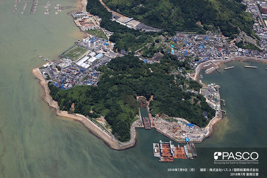 広島県安芸郡坂町横浜西 ドック脇の斜面で発生した斜面崩壊