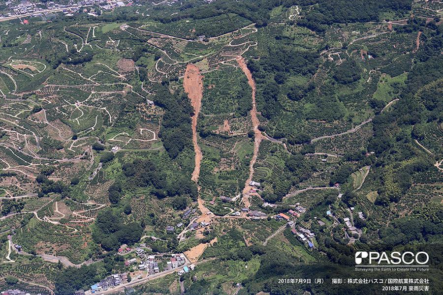 愛媛県八幡浜市保内町須川 斜面町部付近で発生した斜面崩壊の土砂が流下し、下方の住宅が倒壊