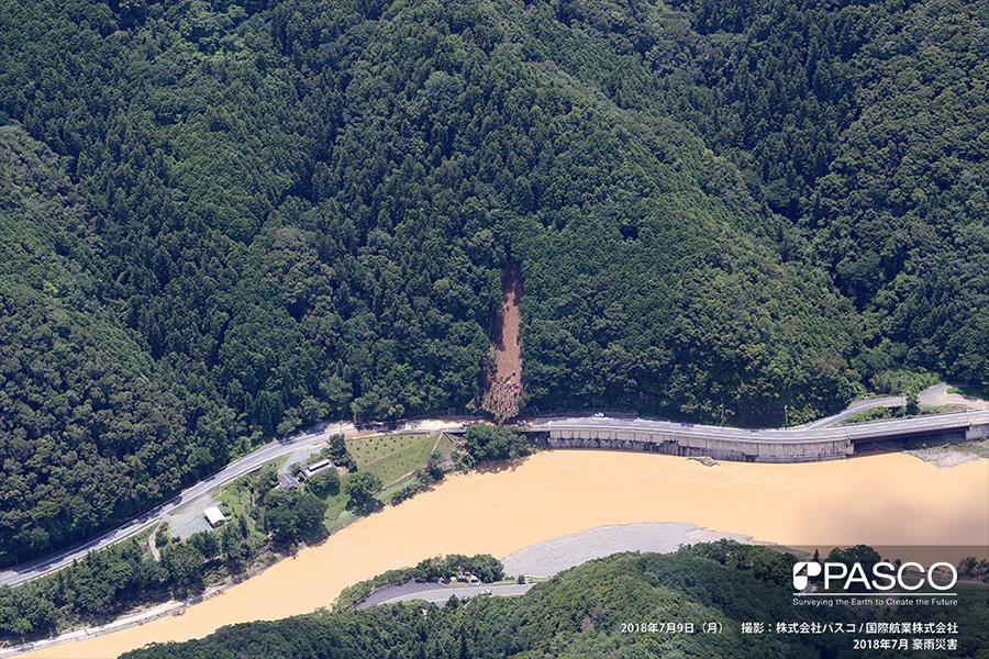 愛媛県大洲市肱川町宇和川 斜面崩壊が発生し、国道197号まで土砂・倒木が到達