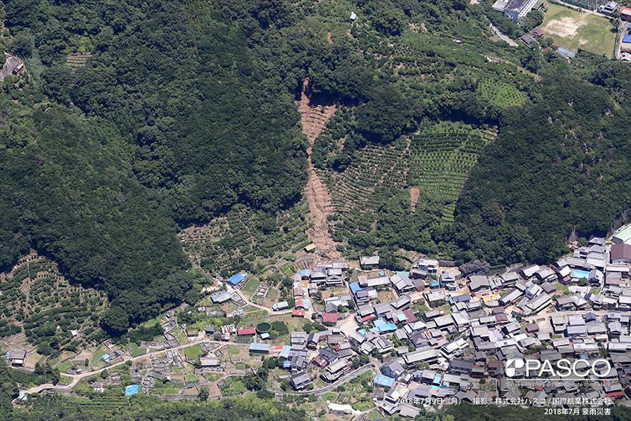 愛媛県西予市明浜町宮野浦 集落背後の斜面頂部付近で崩壊が発生し、土砂が集落内に流入