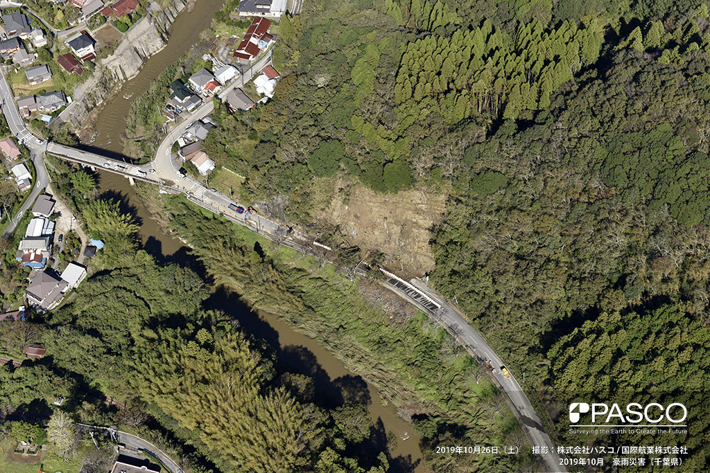 小湊鐵道上総大久保駅付近で発生した斜面崩壊: 土砂・流木は設置していた大型土のうを乗り越え、通行可能だった車線に達している。