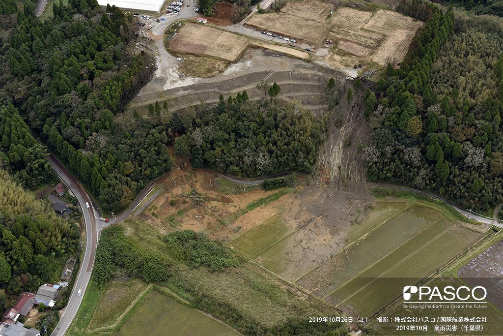 市原市金剛地付近: 造成地沿いの斜面が崩壊し、下方の水田に土砂が流入している。
