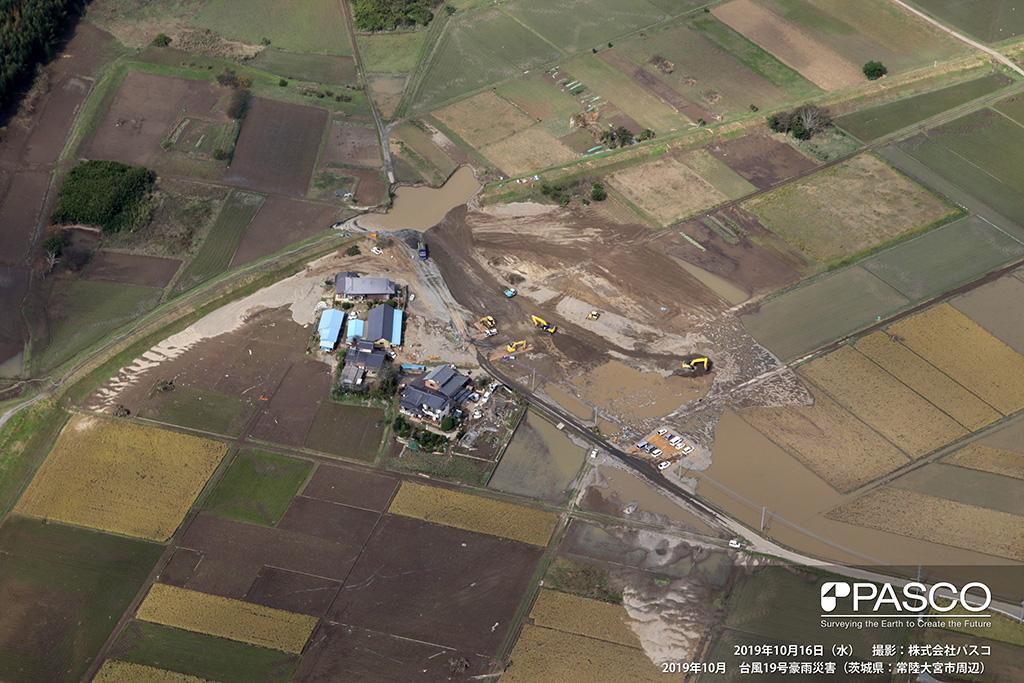 茨城県常陸大宮市 久慈川決壊箇所(堤内側から堤外地を望む): 左岸側堤防が大きく決壊し、くぼ地が池となっており、復旧工事が進められている。