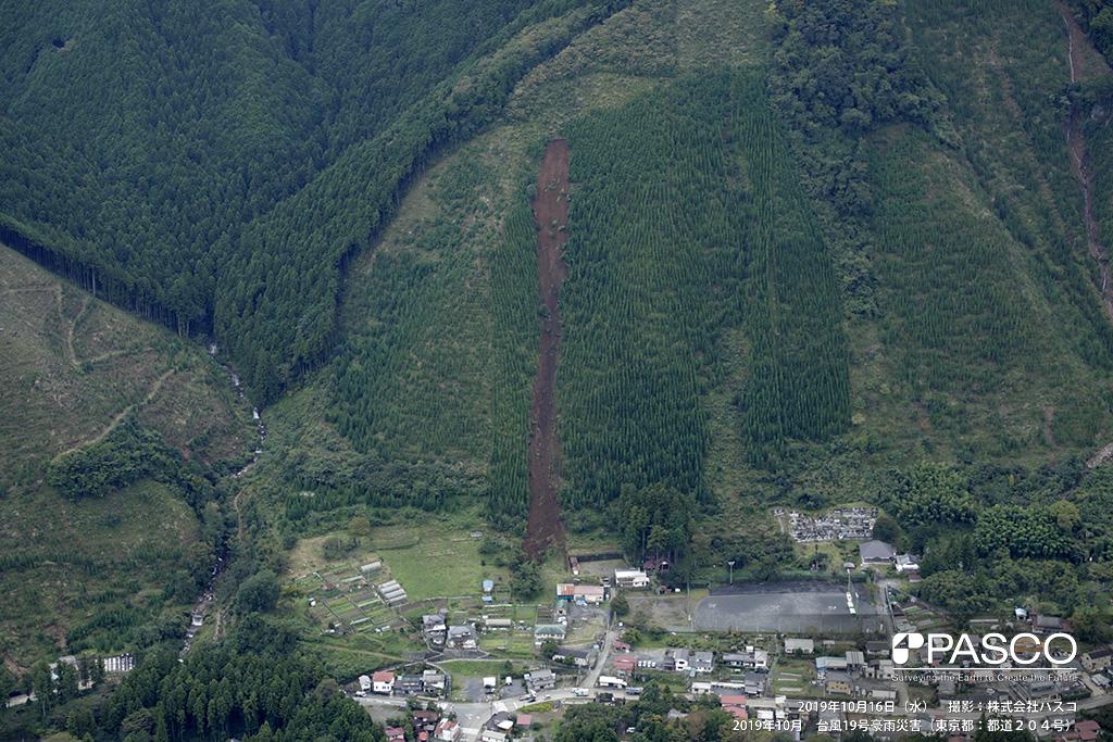 JR青梅線 御岳駅周辺: JR青梅線 御岳駅の対岸斜面の崩壊地(御岳橋付近)。 斜面上部で表層崩壊が発生し土砂が平地まで流出・堆積している。