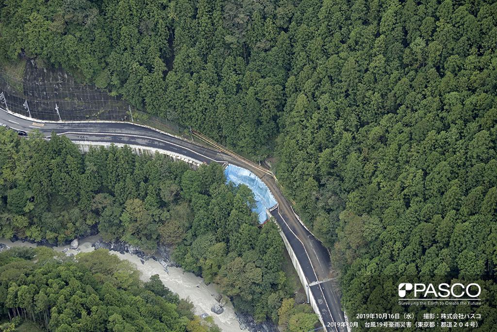 東京都 都道204号: 日原小菅の大増鍾乳洞付近の道路被災箇所。 道路は、全面流出しブルーシートに覆われている。被災箇所の道路上部は、小規模な沢地形を呈している。