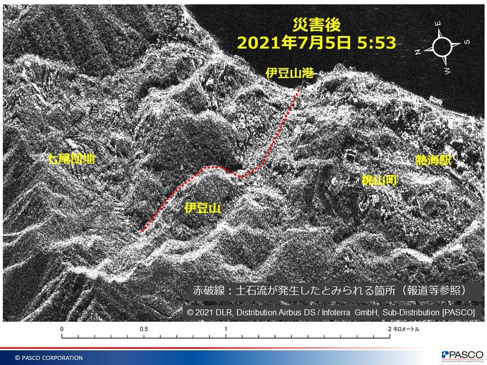 熱海市土石流発生地付近の拡大図